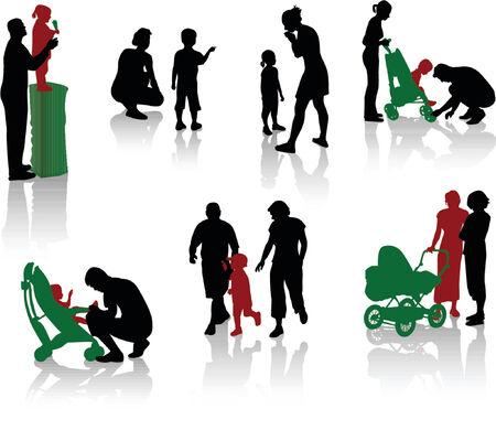 affectionate action: Siluetas de padres con los ni�os