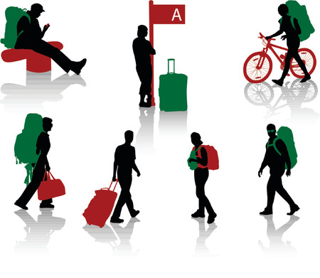 backpacker: Silhouettes of tourists with luggage