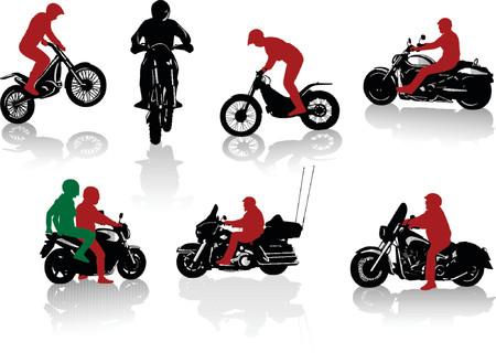motociclista: Siluetas de motoristas. Recorrido y deportes Vectores
