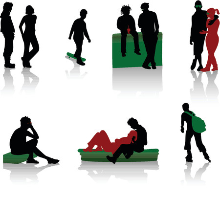 Silhouettes of teenagers. Young men and girls. Stock Vector - 1156004