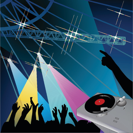 Illustration of a disco in a night club. Vector