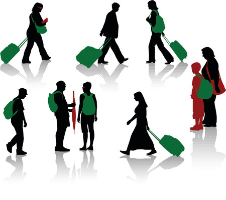 Silhouettes of tourists with luggage Stock Vector - 1200676