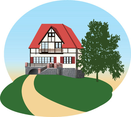 balcony view: The detailed illustration of the house