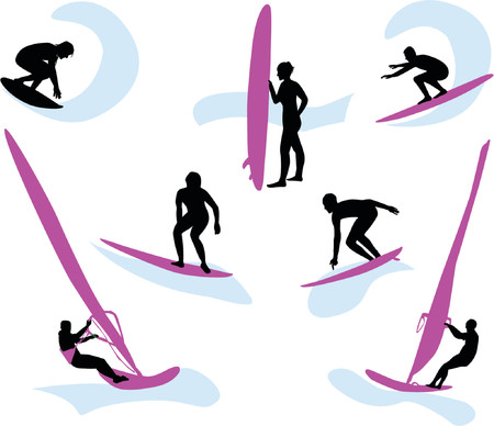 surfers: Silhouettes of surfers in movement