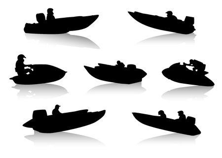 the boat on the river: Siluetas de personas en lanchas de motor