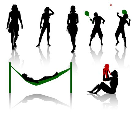 Silhouettes of people having a holiday on the beach Vector