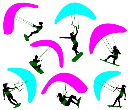 kitesurfen: Silhouetten van de vrouwen die zijn betrokken van kitesurfen. Stock Illustratie