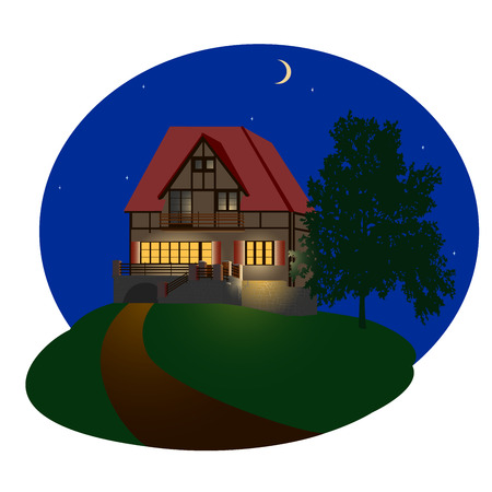front porch: The detailed illustration of the night house