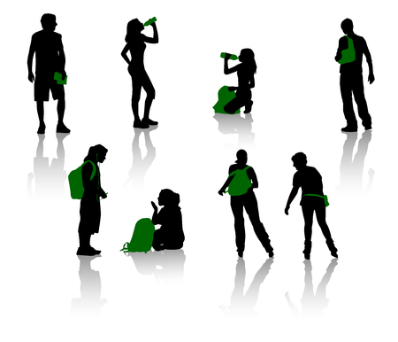 Silhouettes of teenagers. Young men and girls. Stock Vector - 1447710