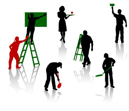 work task: Silhouettes of people of different trades Illustration