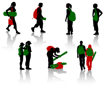 rucksack: Silhouettes of students and pupils. Vector. Isolated.