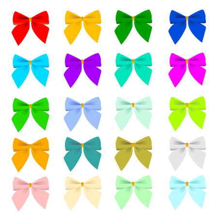 Twenty color variations of a bow for design Vector