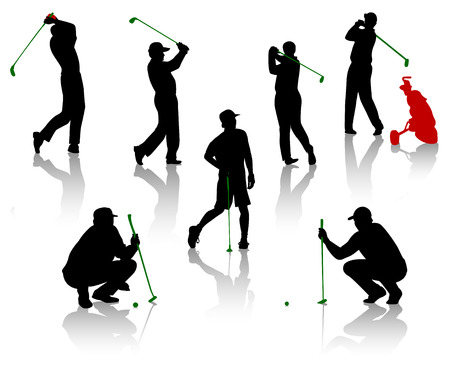Silhouettes of the men playing a golf
