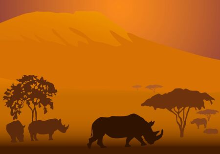 serengeti: Silhouettes of rhinoceroses in national park of Kenya Illustration