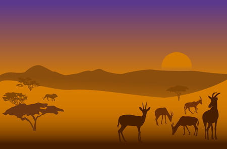 serengeti: Silhouettes of herd of antelopes and a lion in savanna