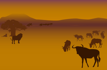 yellow african: Silhouettes of herd of antelopes and lions in savanna Illustration