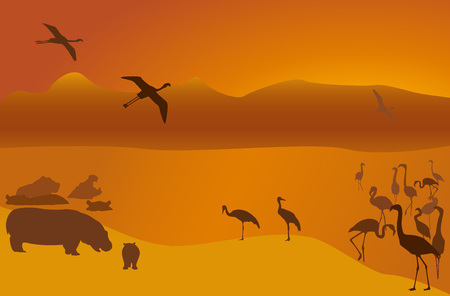 Silhouettes of hippopotamuses, a flamingo and cranes on lake Vector