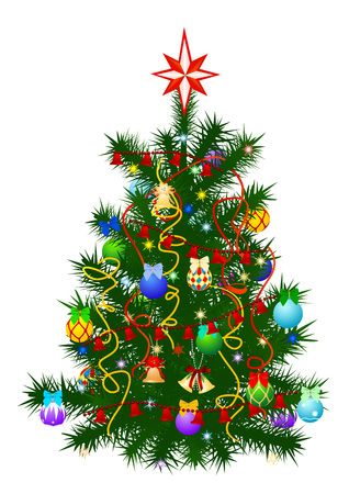 The image of the christmas fur-tree decorated by a holiday Vector