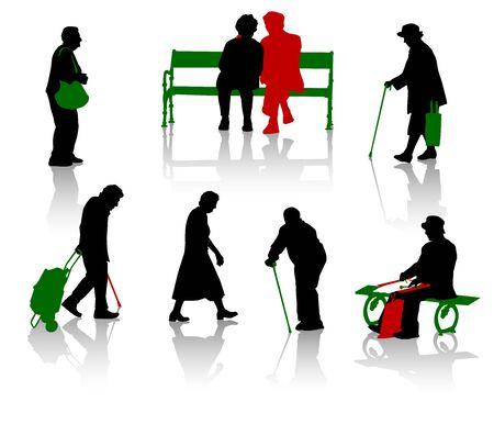 �ltere menschen: Silhouette der alten Menschen. Illustration