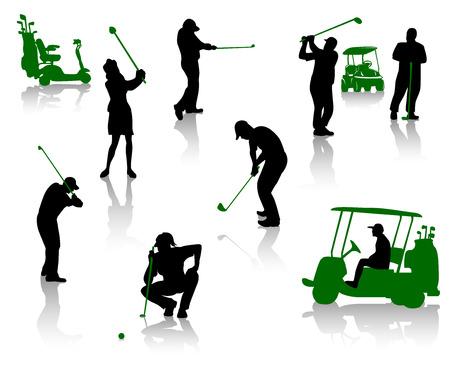 realización: Siluetas de personas jugando un golf