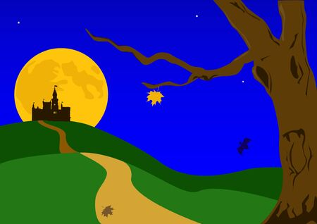 Illustration on a theme halloween.  The old castle on a background of the ascending moon. Stock Vector - 1770710