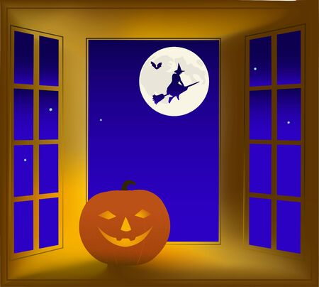 Illustration on a theme halloween. A night window,  pumpkin and flying witch. Stock Vector - 1770712