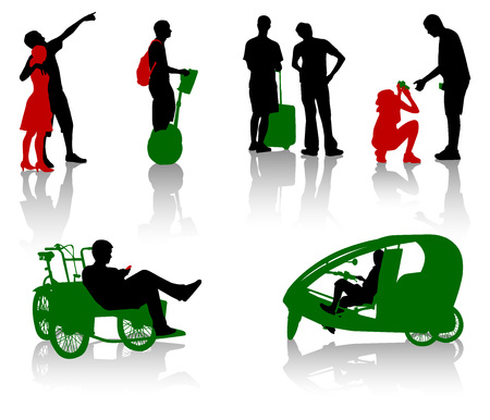 expectation: Silhouettes of tourists in different situation Illustration
