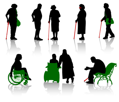 wheelchairs: Silhouette of old people and disabled persons Illustration