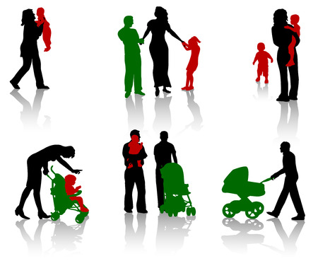 The isolated silhouettes of parents with children. Vector