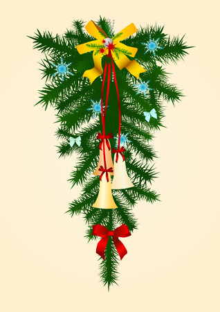 The image of the christmas door decorated by a holiday Stock Vector - 1898071