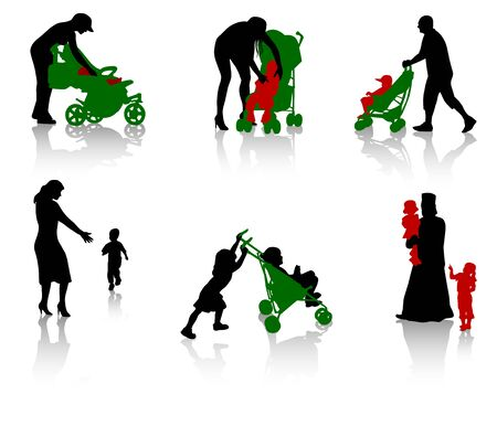The isolated silhouettes of parents and children. Vector