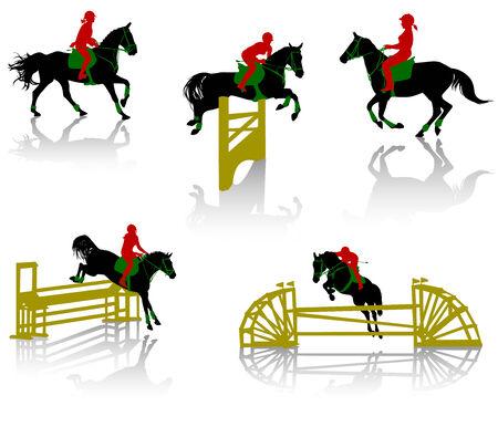 caballo saltando: Siluetas de equestrians a los caballos durante las competiciones  Vectores