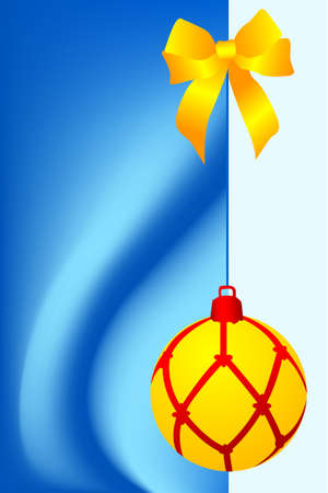 Greeting christmas card with one yellow ball Vector