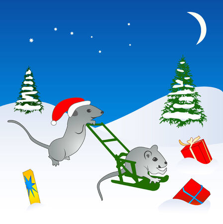 Congratulation card to Christmas and New year with mouse Stock Vector - 2136565