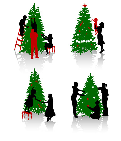 holding a christmas ornament: Silhouettes of the people decorating a Christmas tree.