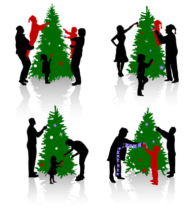 Silhouettes of the people decorating a Christmas tree. Vector