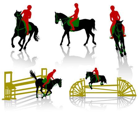 obstaculo: Siluetas de equestrians en caballos durante competiciones