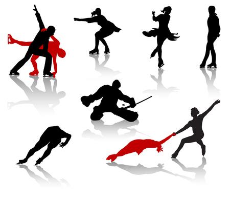 Silhouetten von Sportlern auf Skates. Eisschnelllauf, Eishockey, Eiskunstlaufen.
