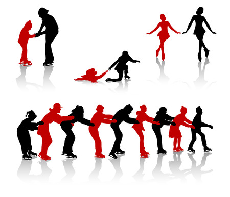 Silhouettes of people on a skating rink. Game in snake, dance, falling, training. Vector
