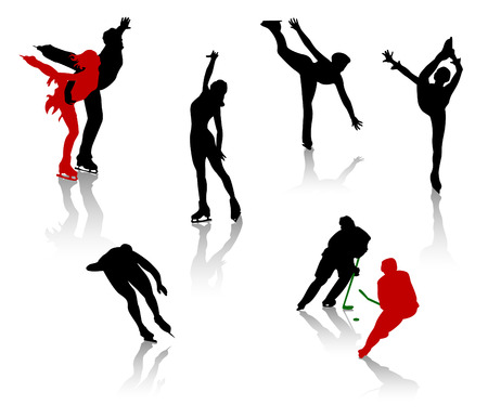 Silhouettes of people on a skating rink. Figure skating, training, entertainment.
