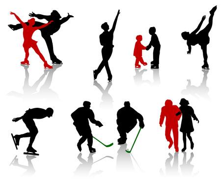 deslizamiento: Siluetas de personas en una pista de patinaje. Patinaje art�stico, formaci�n, entretenimiento.