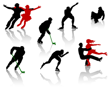 glide: Silhouettes of people on a skating rink. Figure skating, training, competition.