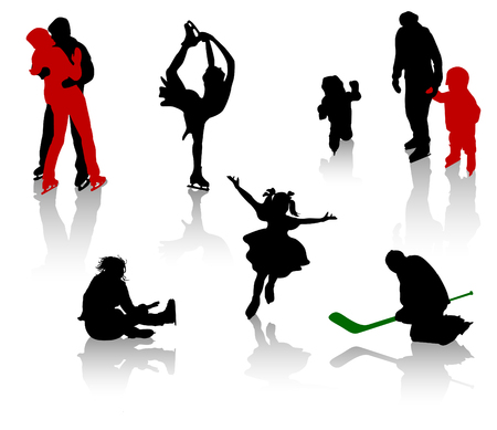 to skate: Siluetas de personas en una pista de patinaje. Patinaje art�stico, la formaci�n, la competencia.  Vectores