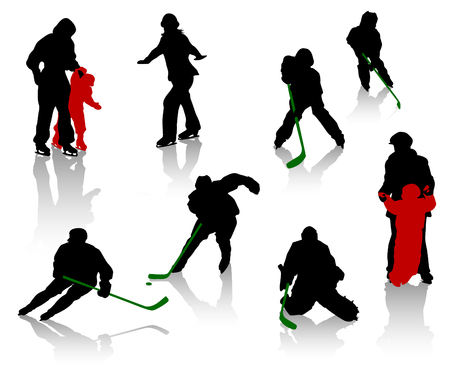 woman exercising: Silhouettes of people on a skating rink. Hockey, training, competition.