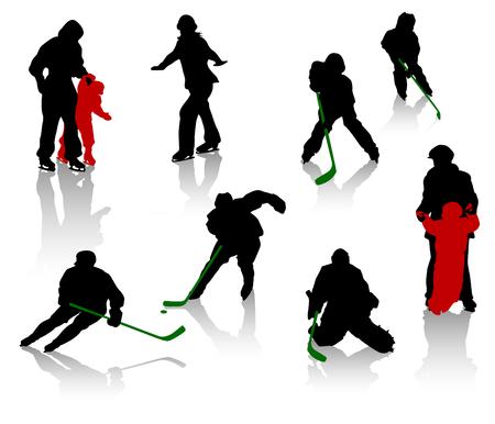 hockey rink: Siluetas de personas en una pista de patinaje. Hockey sobre Hielo, la formaci�n, la competencia.