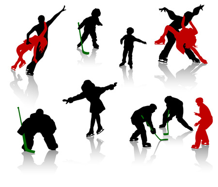 skating rink: Silhouettes of people on a skating rink. Figure skating, hockey, training, competition.
