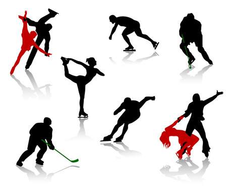 figure skate: Silhouettes of people on a skating rink. Figure skating, hockey, training, competition.