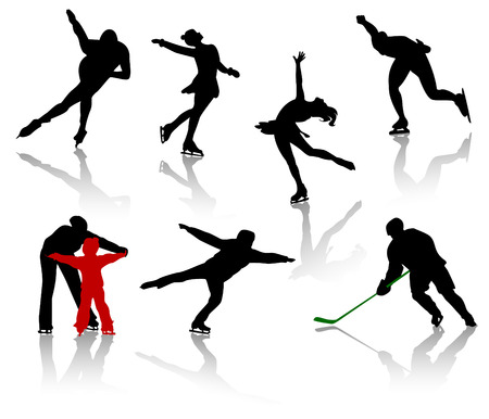 Silhouettes of people on a skating rink. Figure skating, hockey, training, competition. Vector
