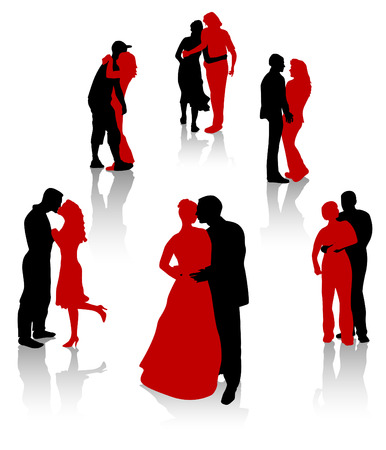 Silhouettes of lovers. Young and elderly couples. Vector