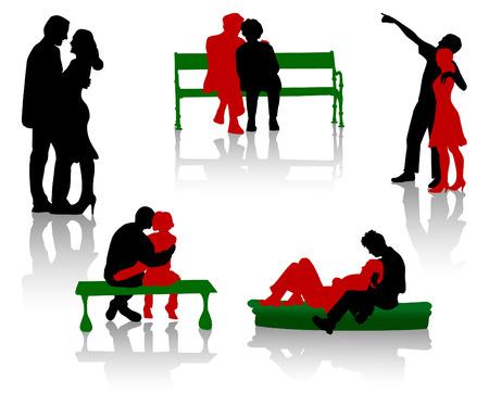 Siluetas de los amantes. Los j�venes y las parejas de personas mayores.  Foto de archivo - 2486117